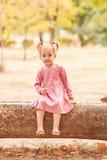 Lycklig gullig liten flicka som spelar på en parkerabakgrund Höstgyckelbegrepp kopiera avstånd arkivfoto