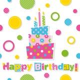 lycklig hälsning för födelsedagcakekort Royaltyfri Bild