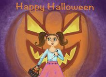 Lycklig hälsning för häxa för illustration för halloween vykortbegrepp royaltyfri illustrationer