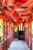Lycklig händelse i huset Det forntida kinesiska traditionella bröllopet Arkivfoto