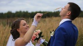 Lycklig härlig brud och brudgum på fält lager videofilmer