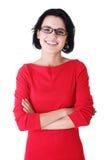 Lycklig härlig kvinna i tillfällig kläder Fotografering för Bildbyråer