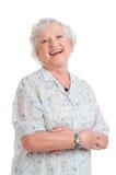 Lycklig hög gammal lady royaltyfria bilder
