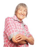 lycklig hög kvinna Arkivfoto