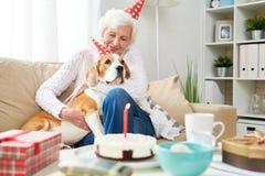 Lycklig hög kvinna som kramar hunden på födelsedag arkivfoto