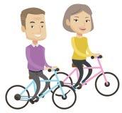 Lycklig hög parridning på cyklar vektor illustrationer