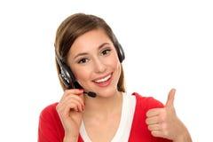 lycklig hörlurar med mikrofontelefonkvinna Royaltyfria Bilder
