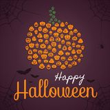 Lycklig halloween affisch, mall för hälsningkort Pumpaform komponerade av pumpakonturer med olika uttryck Spindlar, stock illustrationer