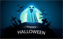 Lycklig halloween bakgrund med spöken i kyrkogården Arkivbild