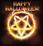 Lycklig halloween för brand pentagram Fotografering för Bildbyråer
