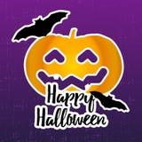 Lycklig halloween klistermärke med pumpa och slagträn royaltyfri illustrationer