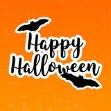 Lycklig halloween klistermärke med slagträn vektor illustrationer