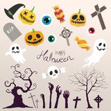 Lycklig Halloween set Stock Illustrationer