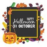 Lycklig halloween tecknad film stock illustrationer