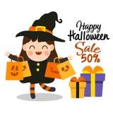 Lycklig halloween tecknad film fotografering för bildbyråer
