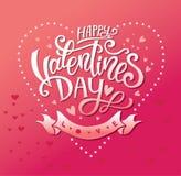 Lycklig hand-dragen valentindag märka design royaltyfri illustrationer