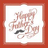 Lycklig hand för dag för fader` som s märker calligraphic design med beståndsdel- och mustaschgränsen i röd ram för tappning stock illustrationer