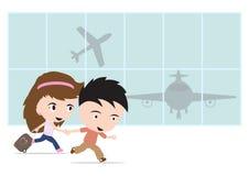 Lycklig handelsresandeman och kvinna med bagage och att gå till flygplatsen och flygplanet för loppsommarbegrepp på vit bakgrund Arkivfoto