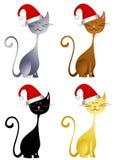 lycklig hatt för kattjul royaltyfri illustrationer