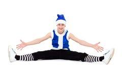 lycklig hatt santa för blå pojkejul Arkivbilder