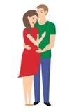 Lycklig havandeskap för ungt gift par Familjeplanering stock illustrationer