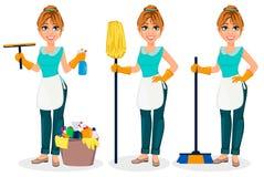 lycklig hemmafru Den gladlynta modern, härlig kvinna, ställde in av tre poserar stock illustrationer