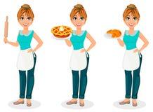 lycklig hemmafru Den gladlynta modern, härlig kvinna, ställde in av tre poserar vektor illustrationer