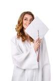 lycklig högskolaflicka Arkivfoton