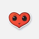 Lycklig hjärta för klistermärke med ögon Royaltyfri Illustrationer
