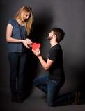 lycklig hjärtared för par Arkivfoto