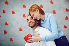 lycklig hjärtared för par valentin för dag s arkivfoto