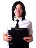 lycklig holding för affärskvinnamappar royaltyfri foto