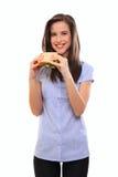 lycklig holdingsmörgåskvinna Royaltyfri Bild
