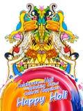 Lycklig Holi bakgrund för festival av färgberömhälsningar stock illustrationer