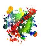 Lycklig Holi färgrik vattenfärgbakgrund Arkivfoton
