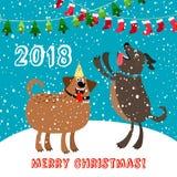 Lycklig hundkapplöpning 2018 kort för glad jul stock illustrationer