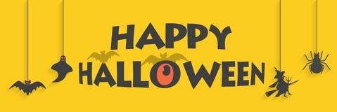 Lycklig illustration för halloween gul banervektor med slagträet, spindeln, santa och spöken, vektor royaltyfri illustrationer