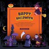 Lycklig illustration för halloween partibakgrund vektor illustrationer