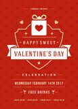 Lycklig illustration för inbjudan för valentindagparti eller affischvektor Arkivbilder