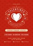 Lycklig illustration för inbjudan för valentindagparti eller affischvektor Royaltyfria Bilder