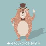 Lycklig illustration för kort för Groundhog dag royaltyfri illustrationer