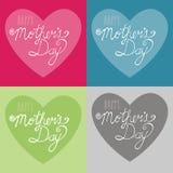 Lycklig illustration för typografi för dag för moder` s på hjärtabakgrund royaltyfri fotografi
