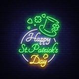 Lycklig illustration för vektor för dag för St Patrick ` s i neonstil Neontecken, hälsningkort, vykort, neonbaner, ljus natt royaltyfri illustrationer