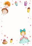 lycklig inbjudan för födelsedag Etikett för tetidtappning Gulliga små prinsessor med muffin blommar, hjärtor Royaltyfria Bilder
