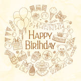 lycklig inbjudan för födelsedagkort royaltyfri illustrationer