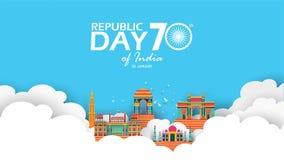 Lycklig indisk illustration eller bakgrund för republikdagvektor för 26 Januari berömaffisch eller banerbakgrundsvektor stock illustrationer