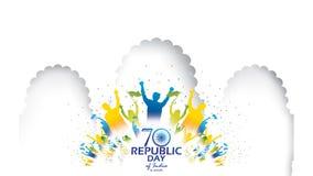 Lycklig indisk illustration eller bakgrund för republikdagvektor för 26 Januari berömaffisch eller banerbakgrundsvektor royaltyfri illustrationer