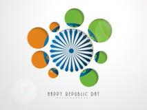 Lycklig indisk klistermärke eller etikett för republikdagberöm Royaltyfria Bilder