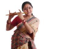 lycklig indisk kvinna Arkivbilder