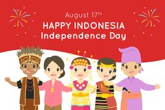 Lycklig Indonesien självständighetsdagen Augusti 17th vektordesign stock illustrationer